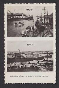 France Pas-de-Calais BOULOGNE WW2 before and after bomb damage bi-view RP PPC