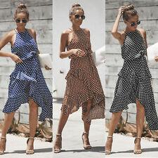 Womens Irregular Spotted Holiday Sundress Tiered Halter Sleeveless Beach Dress