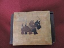 Vintage Art Deco Scottish Terrier Wooden  Box WITH PARQUET PATTERN AND STRIPES