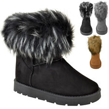Womens Ladies Flat Faux Fur Fluffy Ankle Boots Winter Low Heel Warm Comfy Size
