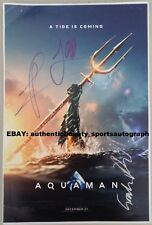 Aquaman Signed Jason Momoa+Wan+King Atlan/McTavish+Bk Manta Poster 12x18 Reprint