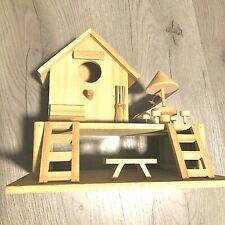 "Beach Bungalo Birdhouse Unfinished Wood Art Project New 8"" x 9"""