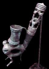 Old Tribal Bamileke Bronze Smoke Pipe  Figure     --- Cameroon  BN 34