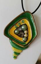 Kautschukkette Anhänger Muschel Füllhorn 7 cm gelb grün Strass *NEU*