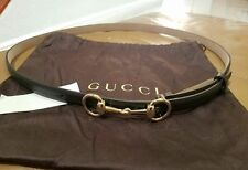 New Gucci $350 Womens Leather Thin Skinny Belt w/Horsebit Buckle 282349 size 105