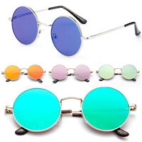 Metal Classic Round John Lennon Inspired Flash Mirrored Flat Lenses Sunglasses