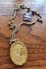 Vintage 70s Brushed Gold Capricorn Zodiac Starsign Deadstock Necklace Swank 7