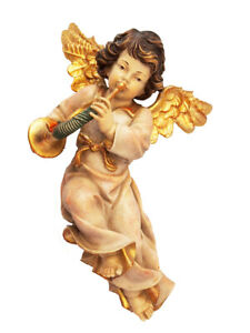 Schön geschnitzter Engel mit Horn; Holz