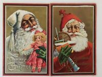 Lot of 2 Santa Claus with Doll~Tennis Racket~Antique~Christmas Postcards-a529