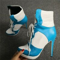 Womens Lace Up Ankle Boots High Top Contrast Color High Sneaker Heels Fall Shoes