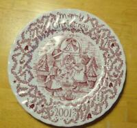 Merry Christmas Royal Crownford Annual Plate Happy Holiday You Red White 2001