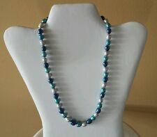 """Honora 5-9mm  Blue Moon Indigo, Teal, Gray  Cultured Ringed Pearl 20""""  Necklace"""