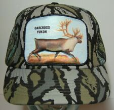 Vintage CARIBOU CARCROSS YUKON CANADA ALASKA Camo Patch SNAPBACK TRUCKER HAT CAP