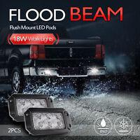 2X 18W Flush Mount Flood LED Work Lights Pods Bar Off Road Fog Driving lamp Car