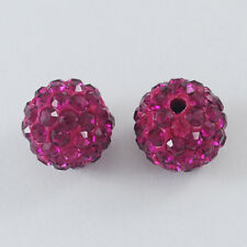 12 Stück Strassperlen Beads Perlen Shamballa fuchsie 10 mm (1061)