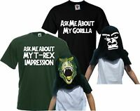 Children's Ask Me About My T-Rex & Gorilla Flip T-Shirt Double Pack Kids Gift