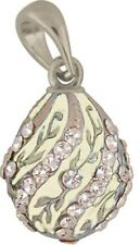 Faberge Egg Pendant / Charm with crystals 2.2 cm cream #0806