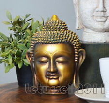 23CM TALL BALINESE BUDDHA HEAD STATUE SCULPTURE HOME DECOR -GOLD