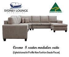 AUSTRALIAN MADE Cosmo 8 seater Modular Suite (Pecan) Corner Chaise Lounge