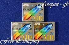 3 x JVC RECORDABLE AUDIO MINIDISCS - 74 MINUTES CRYSTAL RANGE - BRAND NEW BOXED