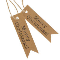 100pcs Merry Christmas Craft Brown Gift Paper Label Hang Tags+ string