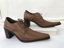 Women's Brogues Shoes 36 US 6 Chunky Heels Long Pointy Toe Brown Space Italy