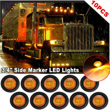 10x Amber Mini Round 3/4'' LED Bullet Light Boat Truck Trailer Side Marker Light