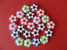 50 X ROUND FOOTBALL PATTERN WOOD MIXED COLOURS BUTTONS-SCRAP BOOKING - SEWING