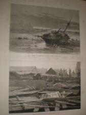 Storm damage Épave Navire Atlantique sur Tyne & Iron église Whitby 1881 IMPRIME ref av