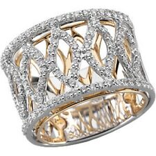 Diamond Ring .75 Ct. 13.75mm Band Two Tone 14K Gold XOXO Eternity Band