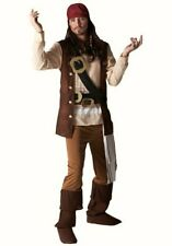 Mens Jack Sparrow Pirate fancy dress costume Outfit Pirates Caribbean + WIG