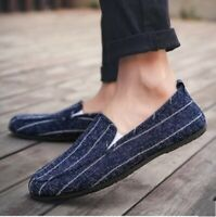 Mens Youth Casual Canvas Pumps Loafers Shoes Slip On Stripe Driving Moccasins