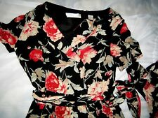 SILK LONG DRESS BY DANA BUCHMAN AUTHENTIC IN BLACK and RED PINK FLOWERS 12