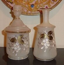 ANTIQUE FROSTED HAND PAINTED GLASS DRESSER VANITY SET