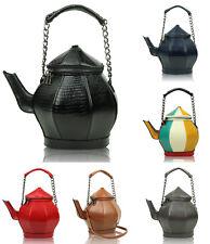 Ladies Gift Bag Teapot Shape Glossy Patent Leather Top-Handle Shoulder Handbag