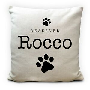 Personalised Dog Breed Reserved Pet Name Cushion Pillow Cover Paw Print 16inches