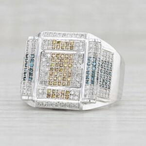 Men's 1ctw Multi-Color Diamond Ring 10k White Gold Size 10.5