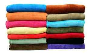 Coral Fleece Throw Blanket Soft Elegant 14 Solid Colors King Queen Full Size