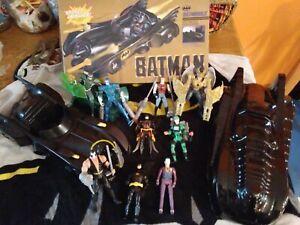 1989 DC Comics BATMAN BATMOBILE & Batman movie,total justice figure lot - ToyBiz