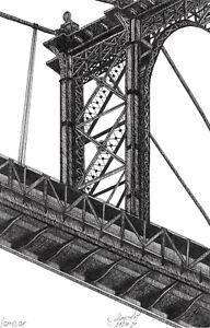 original drawing 13 x 20,5 cm 31PIr art by samovar ink Brooklyn Bridge Signed
