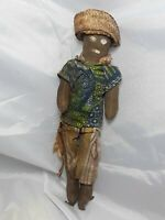 "Vintage Folk Art Hand Made Doll Circa 1900's 10"" Tall"