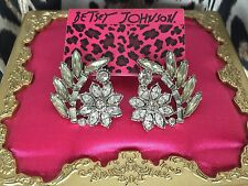 Betsey Johnson Metal Mesh Bows Clear Crystal Flower Leaf HUGE Stud Earrings $55