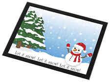Snow Man Black Rim Glass Placemat Animal Table Gift, Snow-1GP