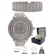 NEW ICE MASTER 2 PC SET SILVER,COVERED CRYSTAL GLITZ,OVER SIZED WATCH+BRACELET
