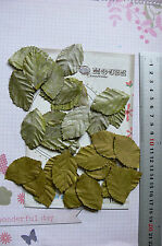 Leaves SILVER GREY & OLIVE GREEN 40Pk Paper LRG 48mmLong x 28mmWide Manor House