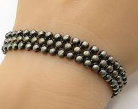 ITALY 925 Sterling Silver - Vintage Pebbled Chain Mail Design Bracelet - B2474