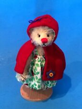 """Deb Canham """"Little Red Riding Hood"""" Miniature Bear With Red Hood- 3 3/4"""" Jointed"""