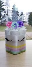 Mini Diaper Cake Unicorn Diaper Cake - Sleepy Unicorn Baby Shower Silver Rainbow
