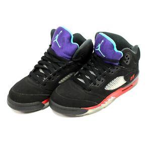 US SIZE 4.5Y   Jordan Retro 5 Nike Air Shoes Black/New Emerald/Red CZ2989-001