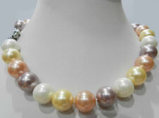 Charming Huge 14mm Multicolor Shell Pearl Round Beads Necklace 18'' AAA